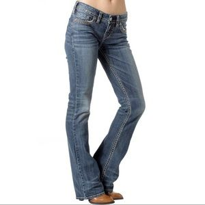 SILVER AIKO MID-RISE BOOTCUT JEANS. EUC. NO FLAWS